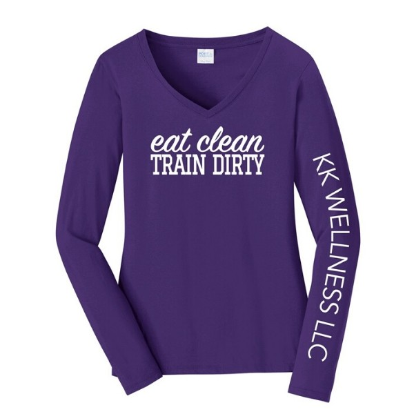 Eat Clean Train Dirty Long Sleeve V-Neck