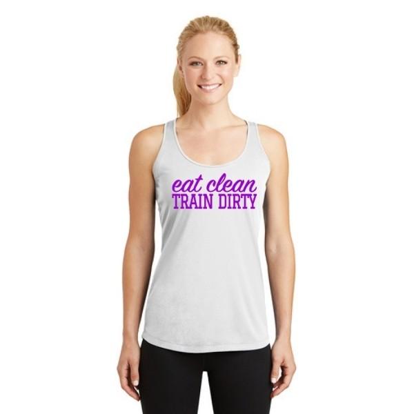 Eat Clean Train Dirty Purple Racerback Tank