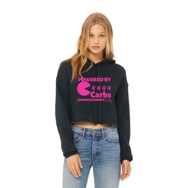 Powered By Carbs Sponge Crop Hoodie_Hot Pink