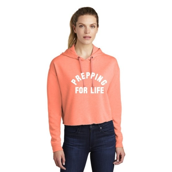 Prepping for Life Triblend Crop Hoodie