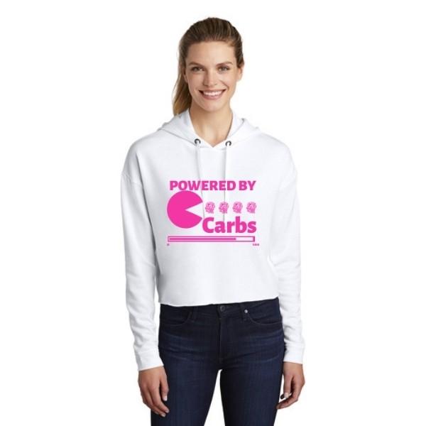 Powered By Carbs Triblend Crop Hoodie Hot Pink