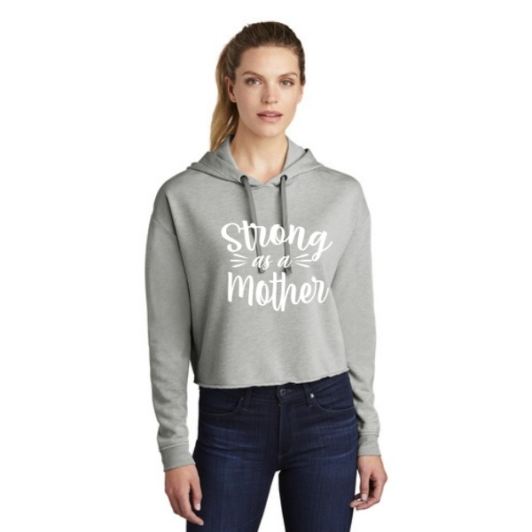 Strong as a Mother Triblend Crop Hoodie