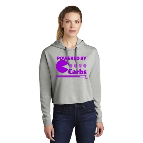 Powered By Carbs Triblend Crop Hoodie Purple